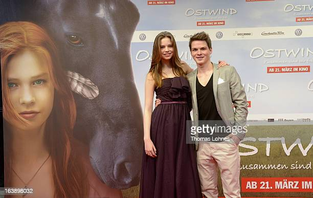 Actress Hanna Binke and Actor Marvin Linke pose on the red carpet for the premiere of the film Ostwind on March 17 2013 in Frankfurt am Main Germany...