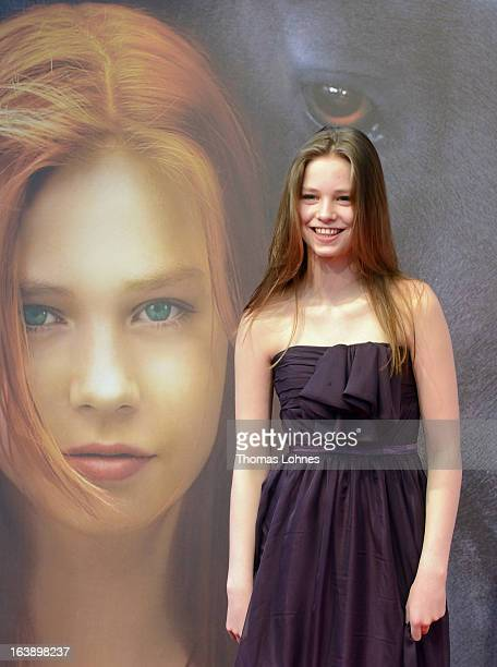 Actress Hanna Binke poses on the red carpet for the premiere of the film Ostwind on March 17 2013 in Frankfurt am Main Germany The family film...