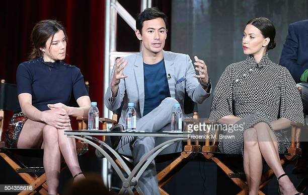 Actress Hanna Mangan Lawrence actor George Young and actress Kristen Gutoskie of the television show Containment speak during the CW segment of the...