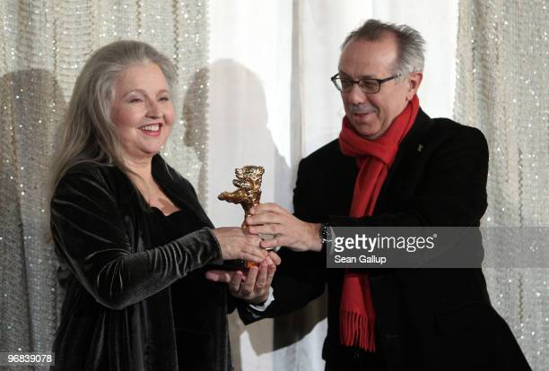 Actress Hanna Schygulla receives her Honorary Golden Bear for lifetime achievement from Berlinale director Dieter Kosslick at the 60th Berlinale...