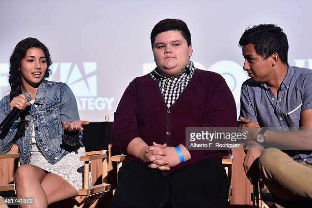 Actress Hannah Elane actor Jovan Armand and writer/director Ryan Velasquez attend Film Independent's Project Invovle Shorts at The Grove on July 23...