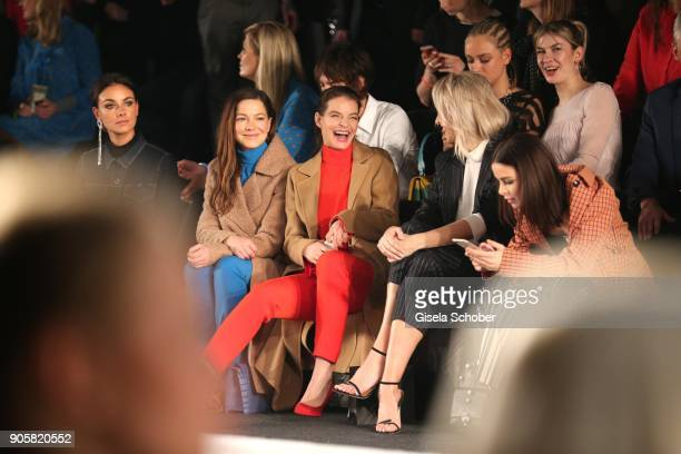 Actress Hannah Herzsprung and Yvonne Catterfeld Lena Gercke during the Marc Cain Fashion Show Berlin Autumn/Winter 2018 at metro station Potsdamer...