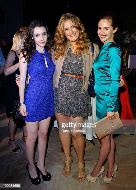 Actress Hannah Marks ELLE Magazine Features Editor Julie Vadnal and actress Haley Strode attend ELLE And Miss Me Party on August 9 2012 in Los...