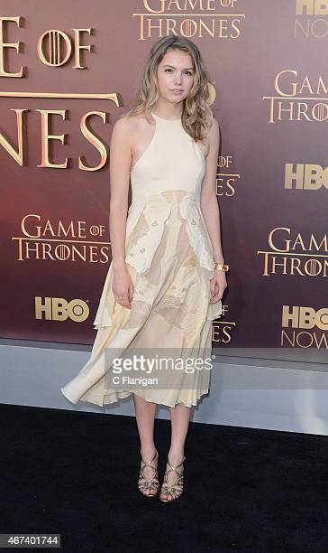 Actress Hannah Murray attends HBO's 'Game of Thrones' Season 5 Premiere at the San Francisco War Memorial Opera House on March 23 2015 in San...
