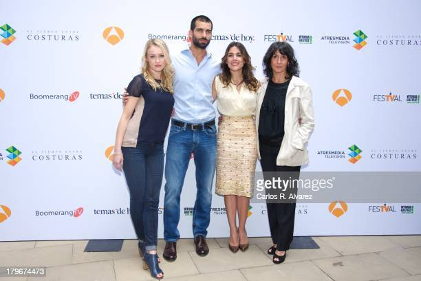 Actress Hannah New actor Ruben Cortada actress Adriana Ugarte and author Lola Duenas promote the 'El Tiempo Entre Costuras' new season during the day...