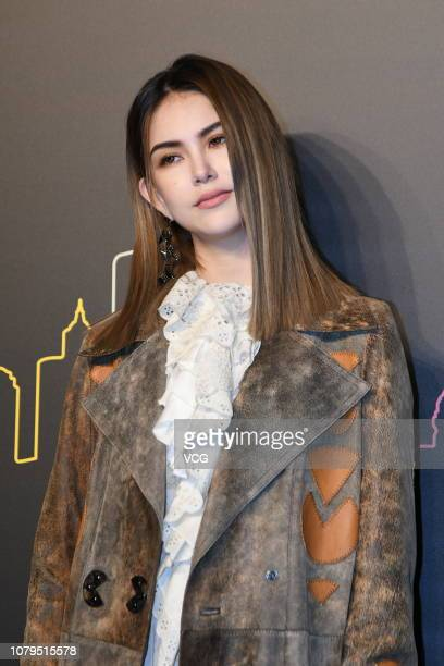 Actress Hannah Quinlivan poses backstage during the Coach 2019 early autumn collection fashion show 'Coach Lights Up Shanghai' on December 8 2018 in...
