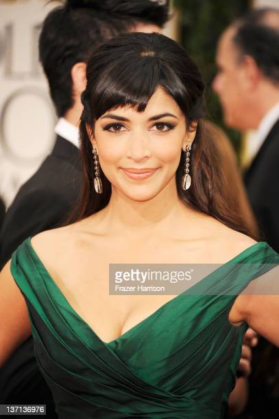 Actress Hannah Simone arrives at the 69th Annual Golden Globe Awards held at the Beverly Hilton Hotel on January 15 2012 in Beverly Hills California