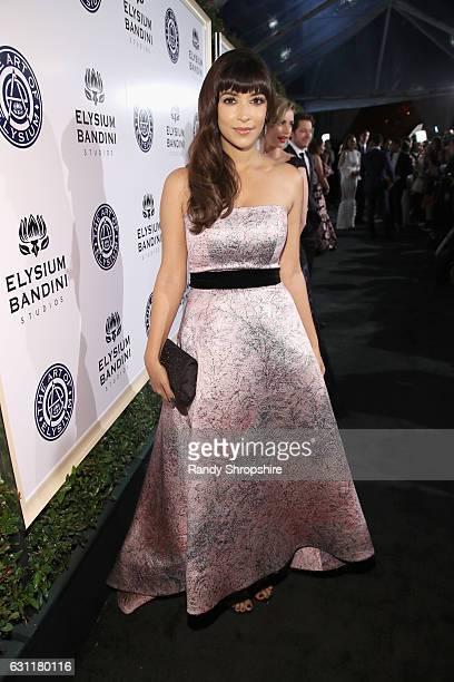 bd220cde Actress Hannah Simone attends The Art of Elysium presents Stevie Wonder's  HEAVEN Celebrating the 10th Anniversary