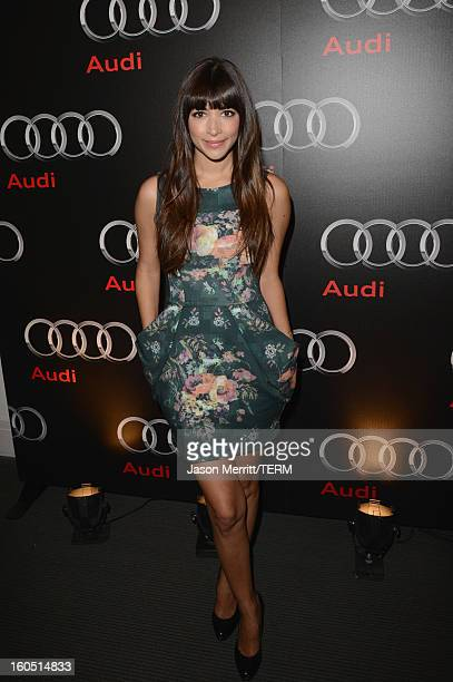Actress Hannah Simone attends the Audi Forum New Orleans at the Ogden Museum of Southern Art on February 1 2013 in New Orleans Louisiana