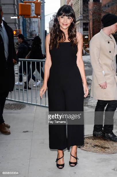 Actress Hannah Simone leaves the AOL Build taping at the AOL Studios on March 20 2017 in New York City