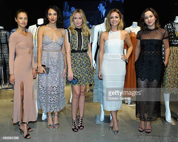 "Actress Hannah Ware, actresses Aurora Perrineau, Anna Camp, Ruth Kearney and Zelda Williams attend Self-Portrait ""Welcome To LA"" Dinner at NeueHouse..."