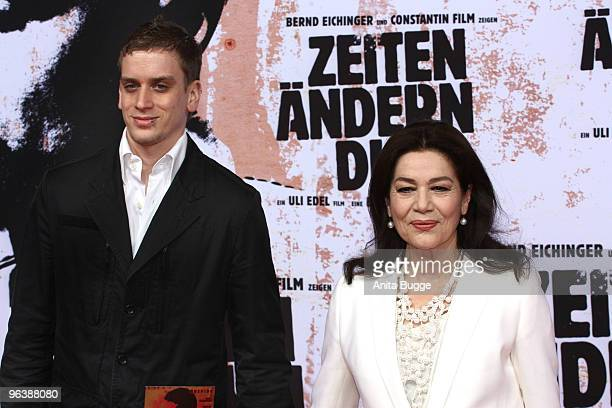 Actress Hannelore Elsner and her son Dominik Elsner attend the 'Zeiten Aendern Dich' German Premiere on February 3 2010 in Berlin Germany