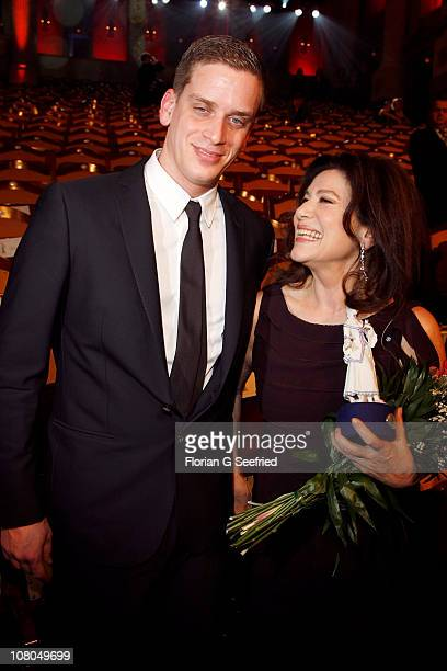 Actress Hannelore Elsner and son Dominik Elsner attend the Bavarian Movie Awards 2011 at Prinzregententheater on January 14 2011 in Munich Germany