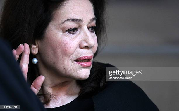 Actress Hannelore Elsner attends the memorial service for Bernd Eichinger at the St Michael Kirche on February 07 2011 in Munich Germany Producer...