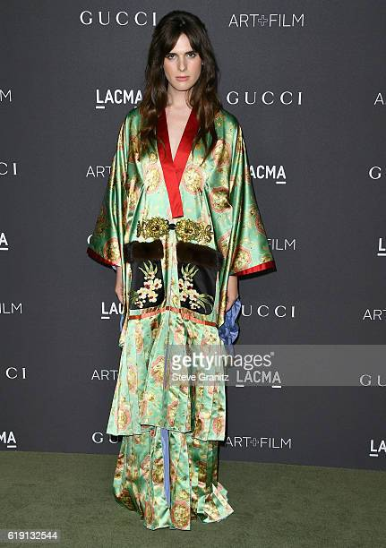 Actress Hari Nef wearing Gucci attends the 2016 LACMA Art Film Gala honoring Robert Irwin and Kathryn Bigelow presented by Gucci at LACMA on October...