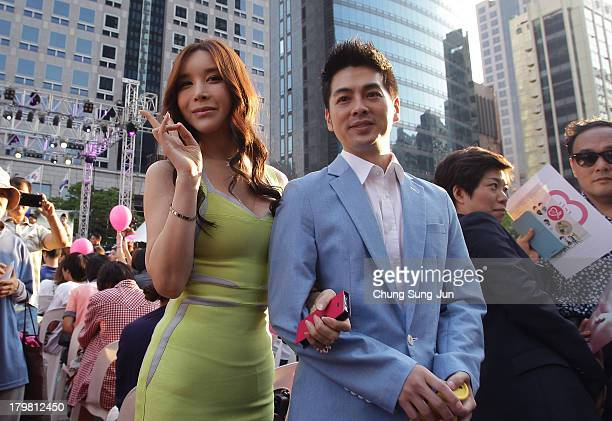 Actress Harisu and her husband Micky Jung attend at director Kim Jho KwangSoo and Kim SeungHwan's wedding as the first samesex couple to get married...