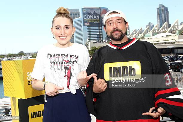 Actress Harley Quinn Smith and host Kevin Smith attend the IMDb Yacht at San Diego ComicCon 2016 Day Two at The IMDb Yacht on July 22 2016 in San...