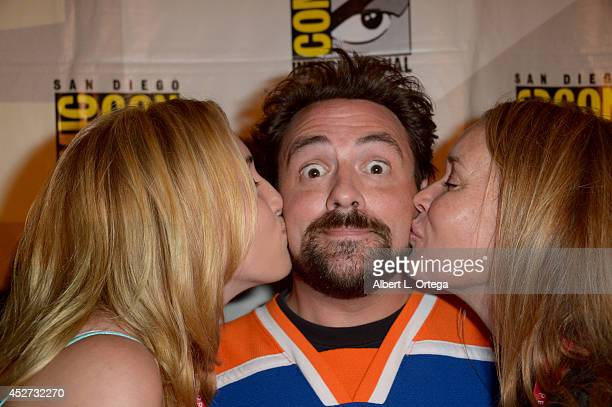Actress Harley Quinn Smith director Kevin Smith and actress Jennifer Schwalbach Smith attend The Musk Of Tusk An Evening With Kevin Smith during...