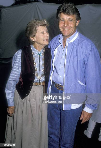 Actress Harriet Hilliard and son Actor David Nelson attend the 35th Annual SHARE Boomtown Party on May 21 1988 at Santa Monica Civic Auditorium in...