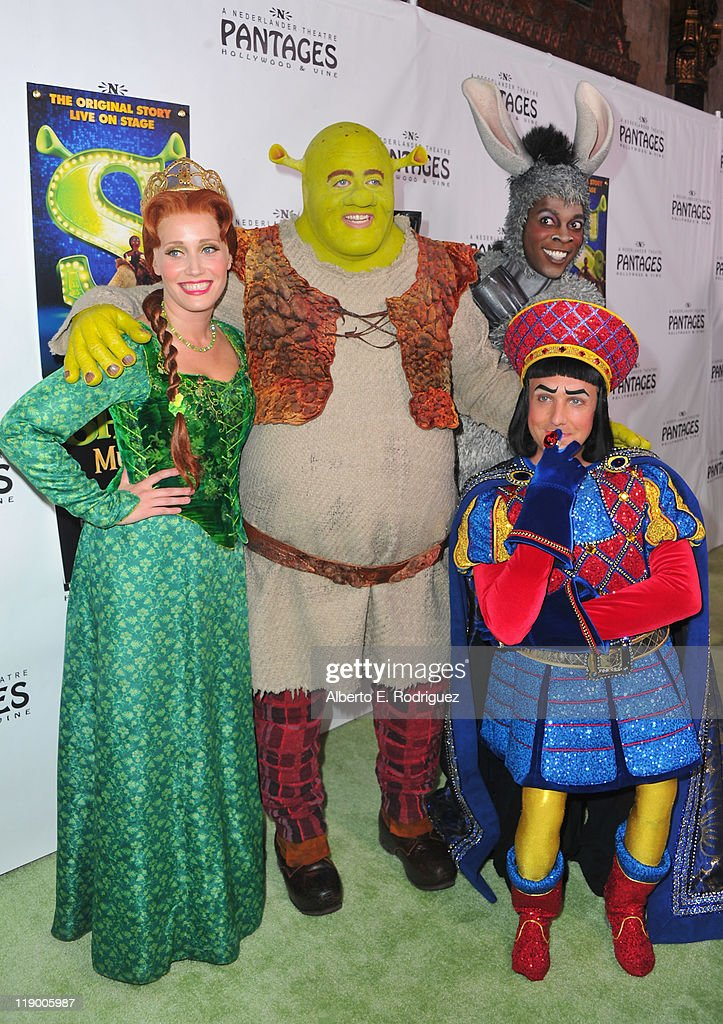 Actress Haven Burton as Princess Fiona, actor Eric Petersen as Shrek, actor Alan Mingo Jr. as Donkey and actor David r. M. Vaughn as Lord Farquaad arrive to the Los Angeles Opening Night of 'Shrek The Musical' at the Pantages Theatre on July 13, 2011 in Hollywood, California.