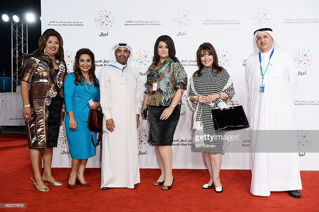 Actress Haya Al Shuaibi, guest, actor Tareq Ali, actresses Woroud Hayat, Huda Hussain and Ali Al Rayes attend the 'On the Way to School' Premiere during day 2 of Ajyal Youth Film Festival on November 27, 2013 in Doha, Qatar.
