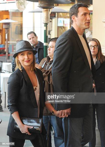 Actress Hayden Panettiere and boxer Wladimir Klitschko arrive at the premiere of The Perfect Game held at The Grove Theatre on April 5 2010 in Los...