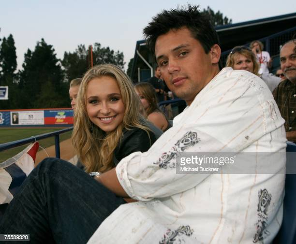 Actress Hayden Panettiere and boyfriend Stephen Coletti attend the Orange County Fylers game at Cal State Fullerton on July 21 2007 in Fullterton...