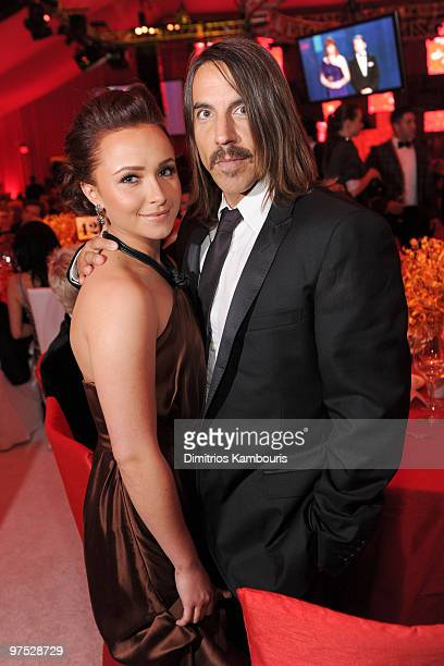 WEST HOLLYWOOD CA MARCH 07 *EXCLUSIVE ACCESS PREMIUM RATES APPLY* Actress Hayden Panettiere and musician Anthony Kiedis attend the 18th Annual Elton...