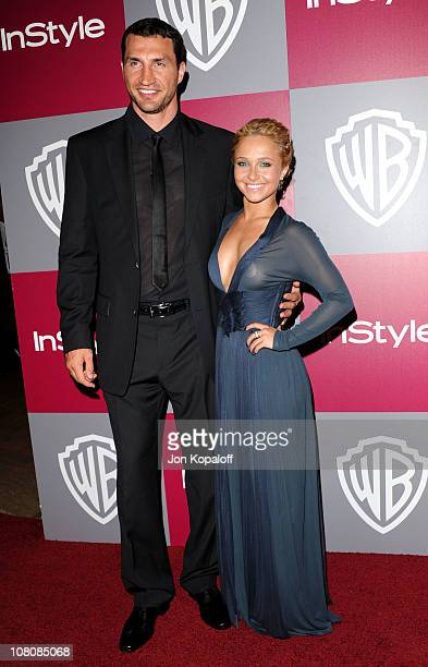 Actress Hayden Panettiere and Ukrainian heavyweight boxer Wladimir Klitschko arrive at the 2011 InStyle/Warner Brothers Golden Globes Party at The...