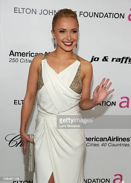 Actress Hayden Panettiere arrives at the 19th Annual Elton John AIDS Foundation Academy Awards Viewing Party at the Pacific Design Center on February...