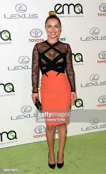 Actress Hayden Panettiere arrives at the 23rd Annual Environmental Media Awards presented by Toyota and Lexus at Warner Bros Studios on October 19...