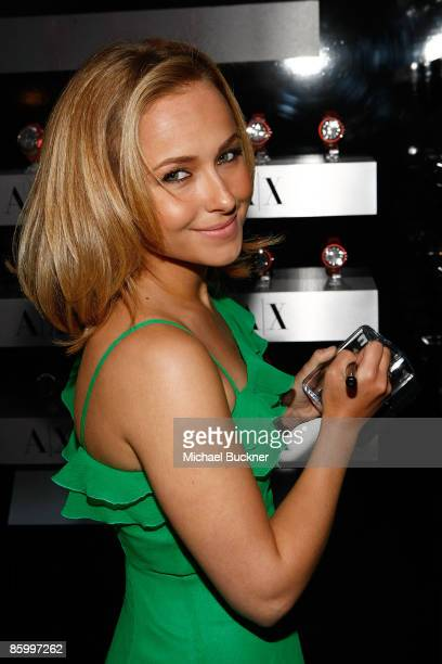 Actress Hayden Panettiere arrives at the launch of A/X Watches at the SLS Hotel on April 15 2009 in Los Angeles California