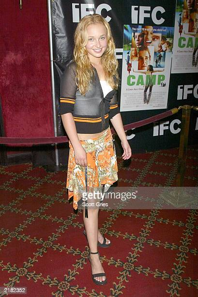 Actress Hayden Panettiere arrives at the New York premiere of 'Camp' at the Ziegfeld Theater July 21 2003 in New York City
