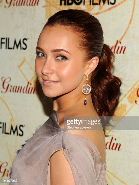 Actress Hayden Panettiere attends the premiere of Temple Grandin at the Time Warner Screening Room on January 26 2010 in New York City