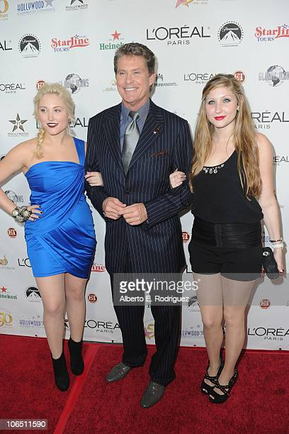 Actress Hayley Amber Hasselhoff actor David Hasselhoff and Taylor Ann Hasselhoff arrive to the Hollywood Walk of Fame's 50th Anniversary Celebration...