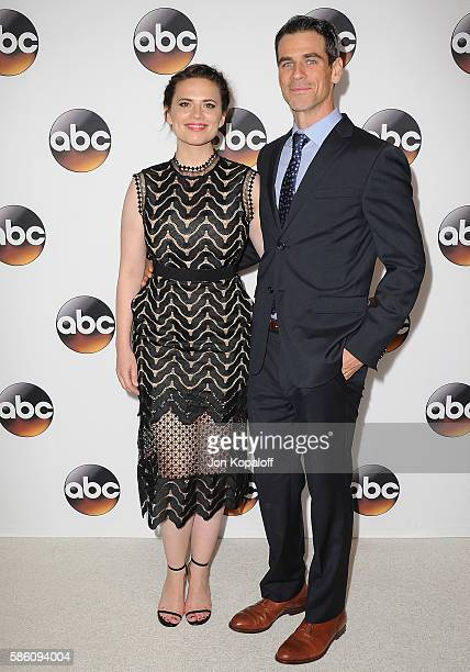 Actress Hayley Atwell and actor Eddie Cahill arrive at Disney ABC Television Group Hosts TCA Summer Press Tour at the Beverly Hilton Hotel on August...