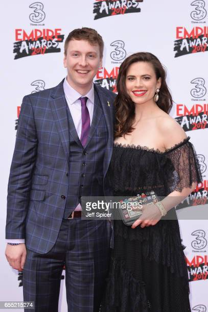 Actress Hayley Atwell and Joe Lycett attend the THREE Empire awards at The Roundhouse on March 19 2017 in London England