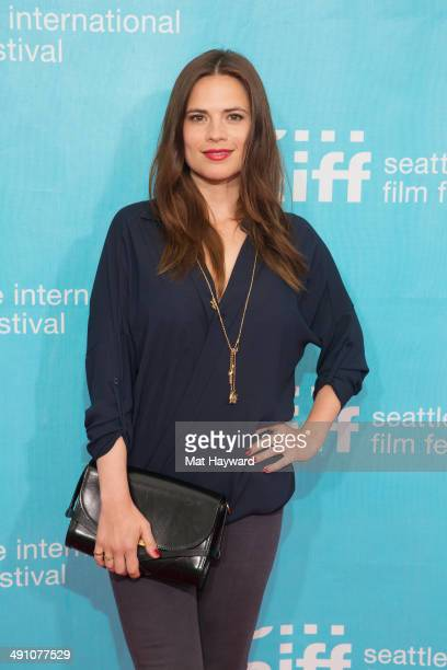 Actress Hayley Atwell arrives at opening night of the Seattle International Film Festival at McCaw Hall on May 15 2014 in Seattle Washington