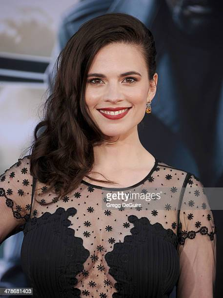 Actress Hayley Atwell arrives at the Los Angeles premiere of Captain America The Winter Soldier at the El Capitan Theatre on March 13 2014 in...