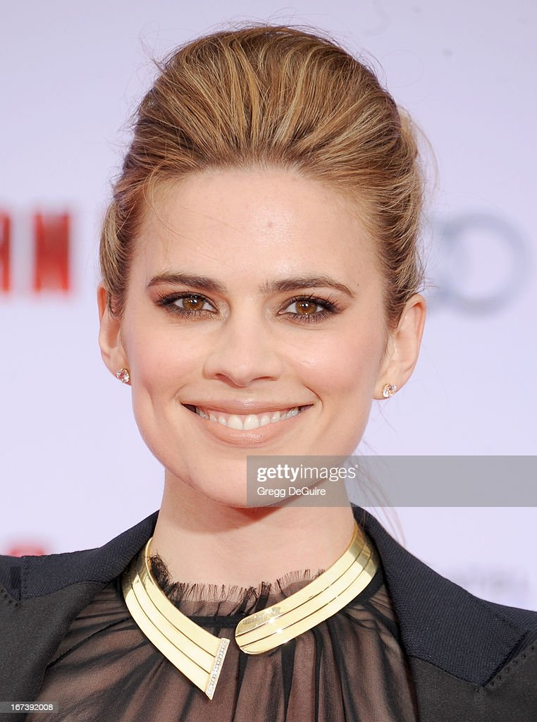 Actress Hayley Atwell arrives at the Los Angeles premiere of 'Iron Man 3' at the El Capitan Theatre on April 24, 2013 in Hollywood, California.