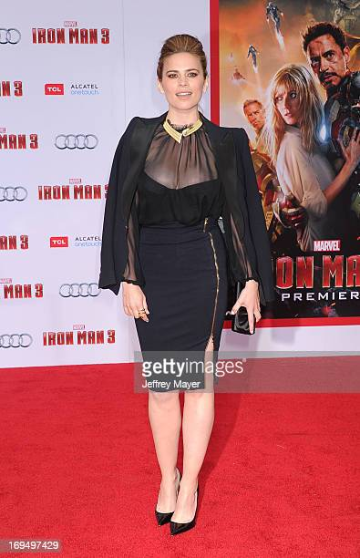 Actress Hayley Atwell arrives at the Los Angeles Premiere of 'Iron Man 3' at the El Capitan Theatre on April 24 2013 in Hollywood California