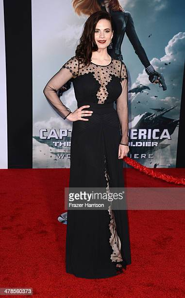 Actress Hayley Atwell arrives at the premiere Of Marvel's Captain AmericaThe Winter Soldier at the El Capitan Theatre on March 13 2014 in Hollywood...