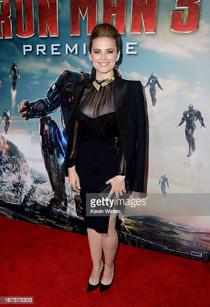 Actress Hayley Atwell arrives at the premiere of Walt Disney Pictures' Iron Man 3 at the El Capitan Theatre on April 24 2013 in Hollywood California