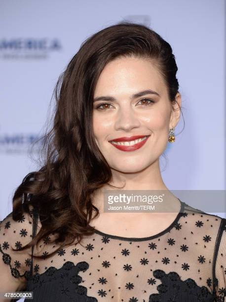 Actress Hayley Atwell arrives for the premiere of Marvel's Captain America The Winter Soldier at the El Capitan Theatre on March 13 2014 in Hollywood...