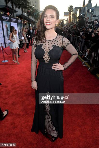Actress Hayley Atwell attends Marvel's 'Captain America The Winter Soldier' premiere at the El Capitan Theatre on March 13 2014 in Hollywood...