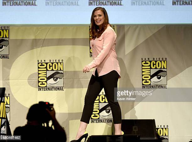 Actress Hayley Atwell attends the Entertainment Weekly Women Who Kick Ass panel during ComicCon International 2015 at the San Diego Convention Center...