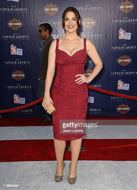 Actress Hayley Atwell attends the premiere of Captain America The First Avenger at the El Capitan Theatre on July 19 2011 in Hollywood California
