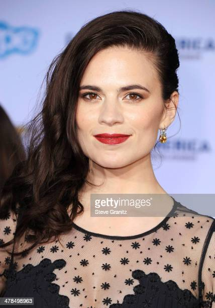 Actress Hayley Atwell attends the premiere of 'Captain America The Winter Soldier' at the El Capitan Theatre on March 13 2014 in Hollywood California