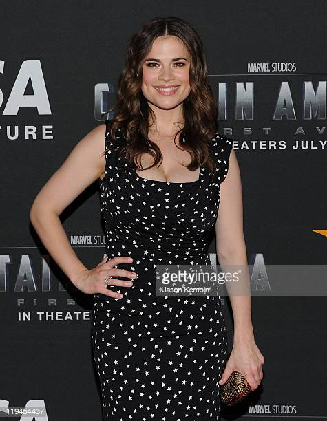 Actress Hayley Atwell attends the Visa Signature VIP Screening of Captain America at AMC Loews Lincoln Square 13 theater on July 20 2011 in New York...