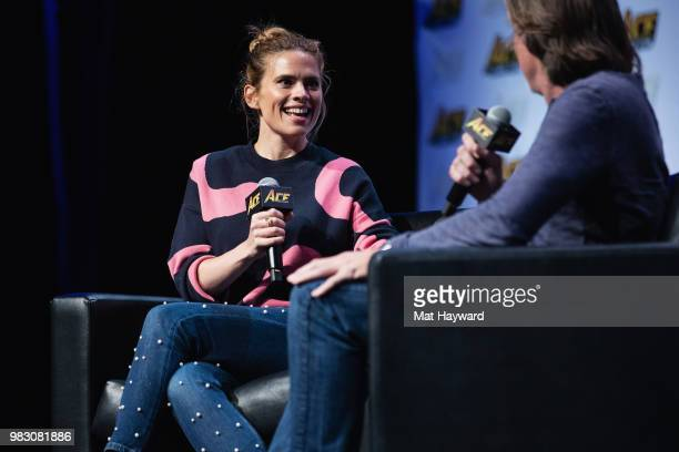 Actress Hayley Atwell speaks on stage about her role as 'Agent Peggy Carter' in the Marvel films Captain America The First Avenger and Captain...